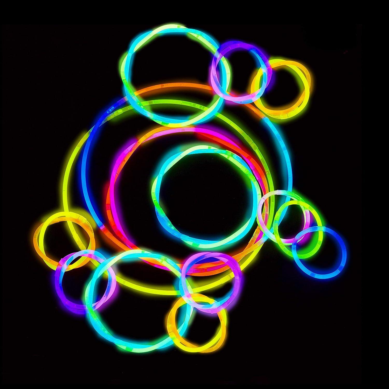 Leuchtst/äbe Profiqualit/ät Glow Stick Relaxdays 400 Knicklichter inkl 416 x 3D-Verbinder 7-Farb-Mix 8 h Leuchtdauer