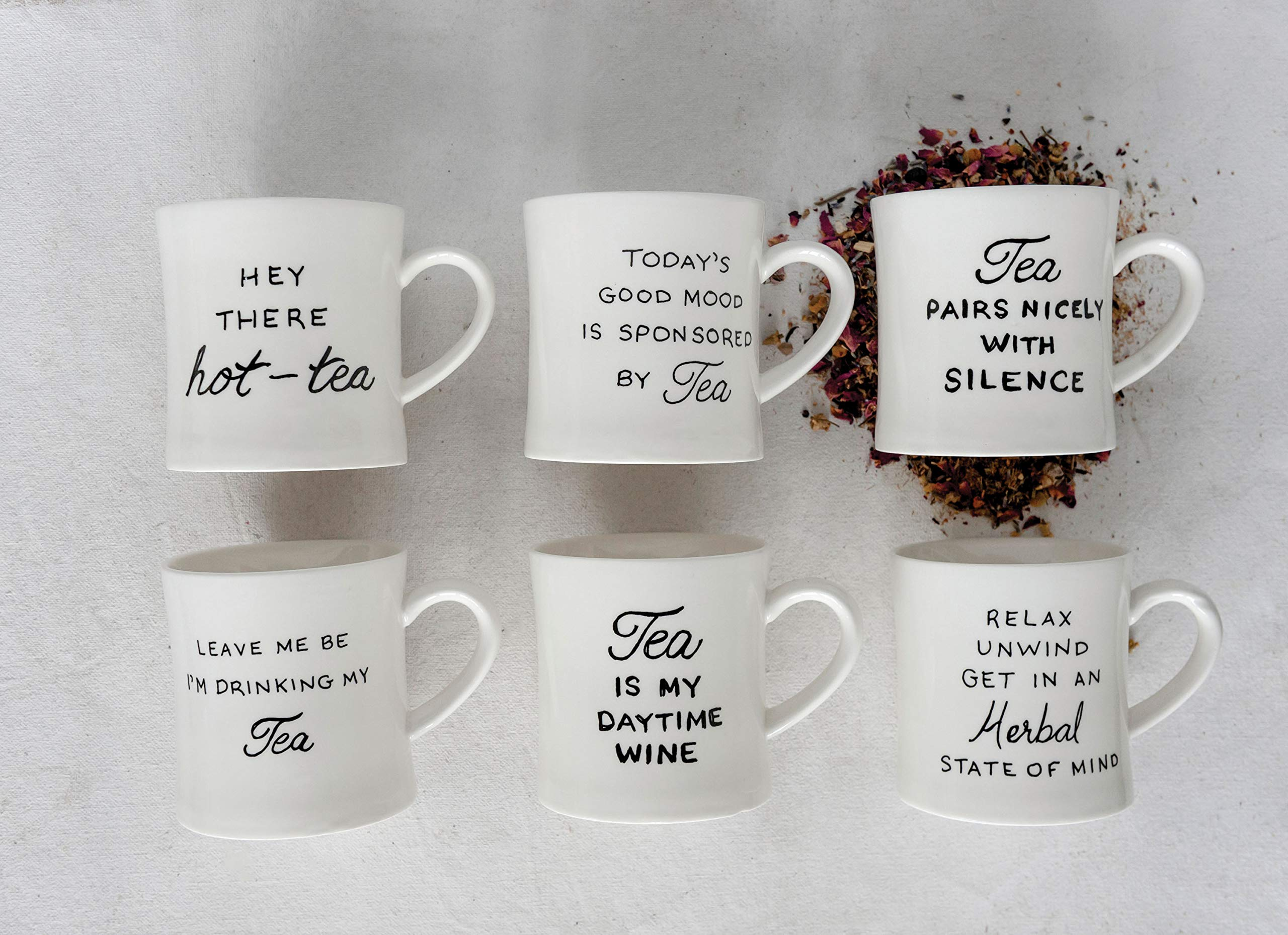 Creative Co-op Today's Good Mood is Sponsored by Tea White Stoneware (Set of 6 Sayings) Mug, by Creative Co-op (Image #2)