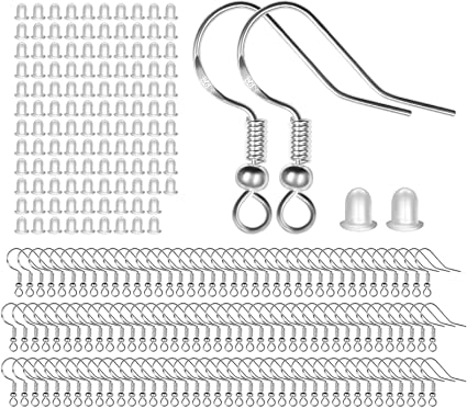 300 Pieces//150 Pairs 925 Hypo-allergenic Silver Earring Hooks with 300 PCS Soft Clear Bullet Earring Backs for DIY Making