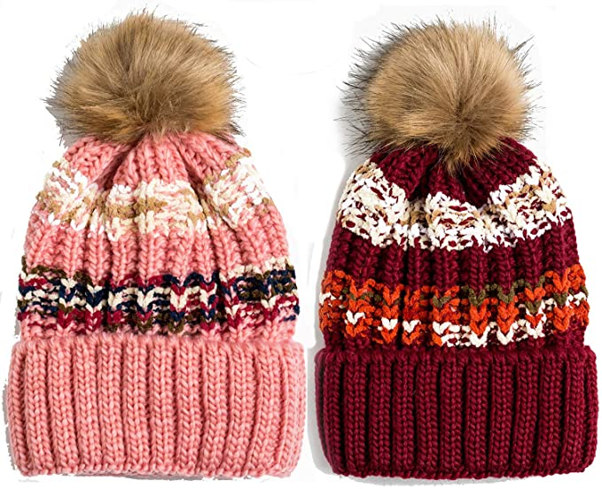 Newbee Fashion Women Winter Soft Knitted Beanie Hat Fur Pom Beanie Fleece  Lined Extra Thick ( 7dd13bfd4900