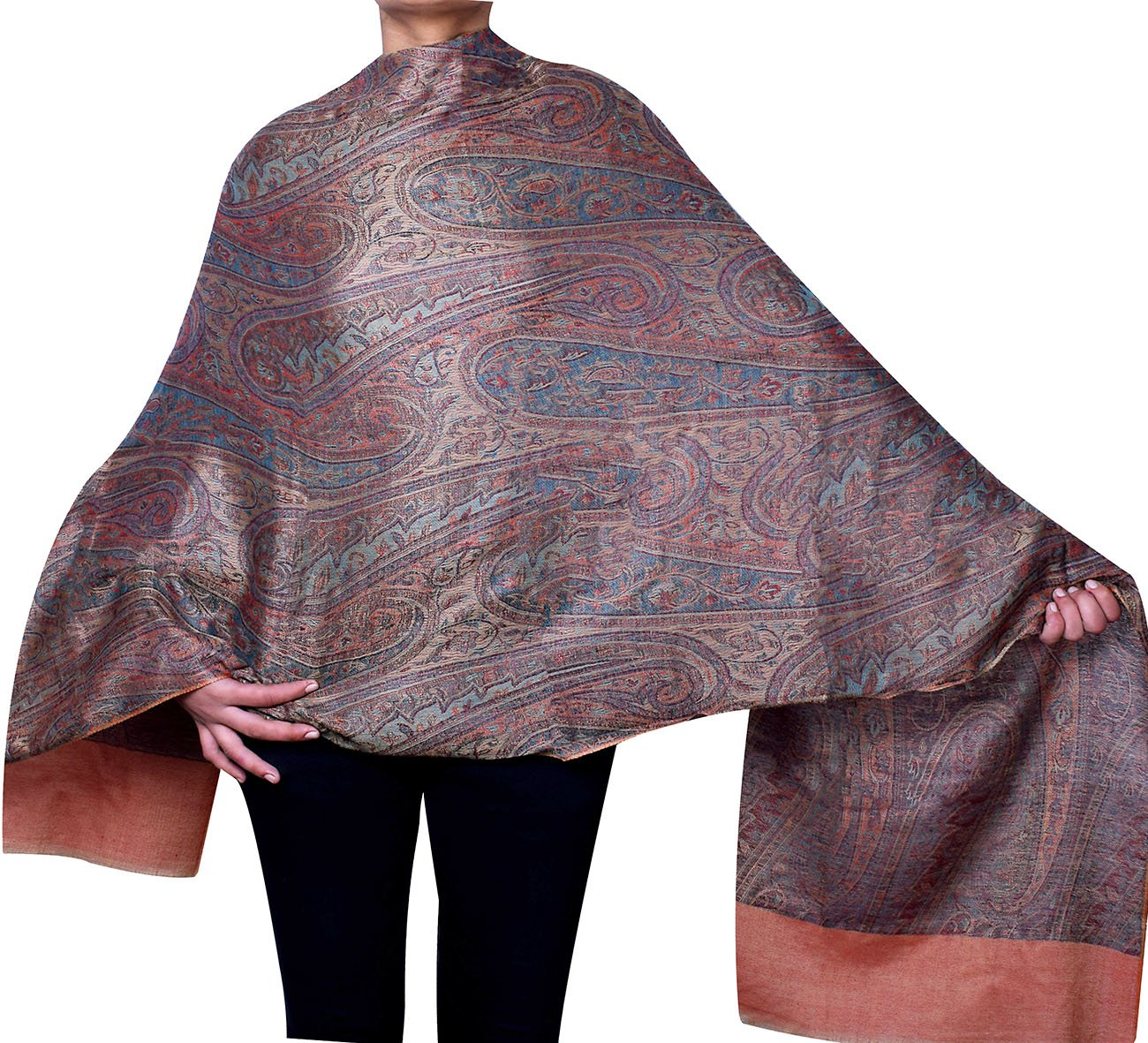 Gift Women's Paisley Wrap Wool Shawl India Clothes (80 x 40 inches) Maple Clothing shwl44183a