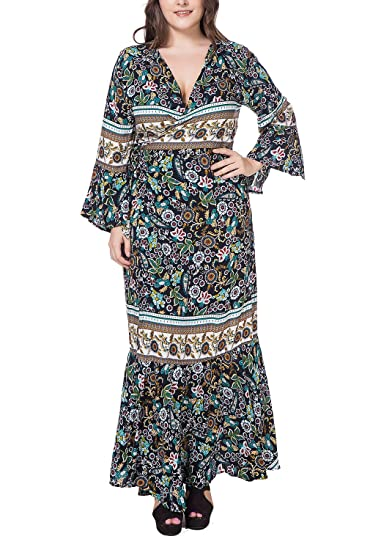 DH APPLE Women\'s Bohemian Style Plus Size Maxi Wrap Dress with Flare ...