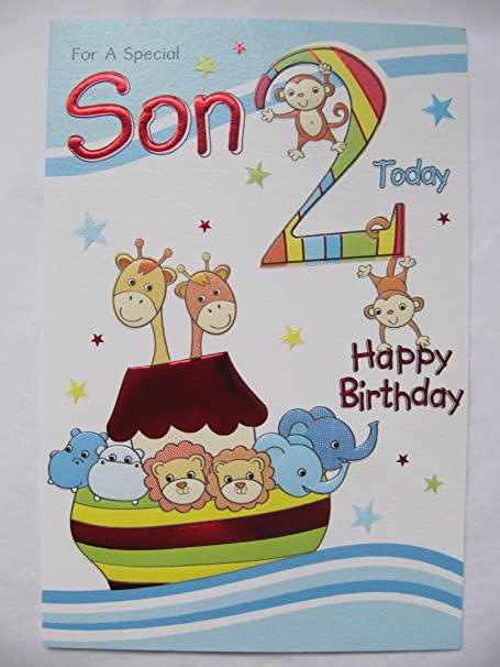 Wonderful Colourful Embossed Special Son 2 Today 2nd Birthday