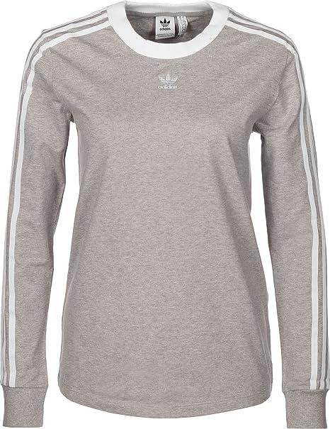 adidas 3 Stripes W T Shirt Manches Longues Medium Grey