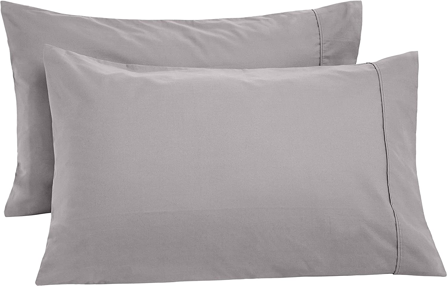 AmazonBasics Ultra-Soft Cotton Pillow Cases - King, Set of 2, Graphite