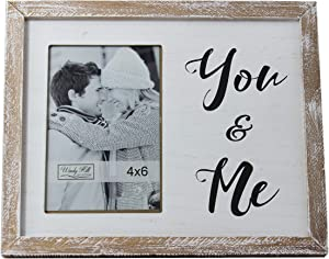 4 x 6 You & Me Wall or Table Top Antique Solid Wood Textured Box Frame Picture Photograph (4
