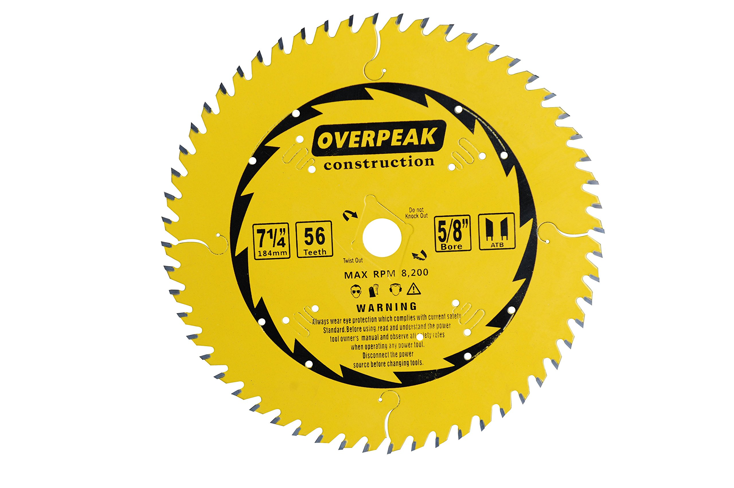 OVERPEAK 7-1/4-Inch Circular Saw Blade, 56 Tooth ATB Fine Finishing Saw Blades, Aluminum Cutting Miter Blades, 5/8'' Arbor and PermaShield Coating