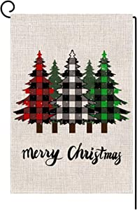 LANMEI Merry Christmas Garden Flag Vertical Double Sided Winter Buffalo Plaid Tree Christmas Holiday Rustic Yard Outdoor Decoration 12.5 x 18 Inch