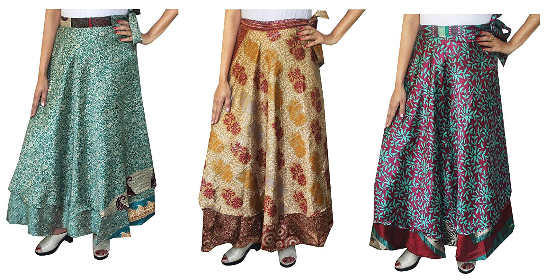 Maple Clothing Wholesale 3 Pcs Lot Two Layers Women's Indian Sari Magic Wrap Around Long Skirt mpl-magicskt36-3p