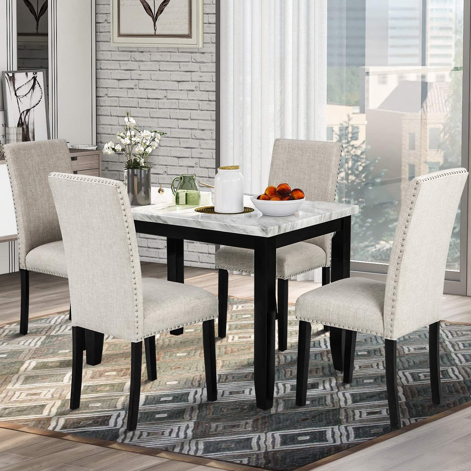 White//Beige P PURLOVE 5 Piece Dining Table Set Faux Marble Style Dining Room Table and 4 Chairs Marble Stickers MDF Top Table and 4 Thicken Cushion Dining Chairs for 4 Persons