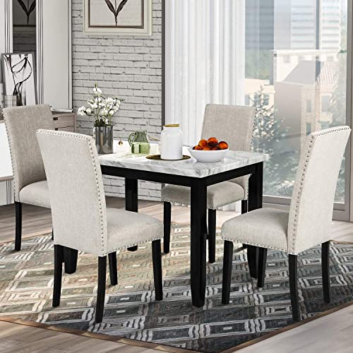 P PURLOVE 5 Piece Dining Table Set Faux Marble Style Dining Room Table and 4 Chairs Marble Stickers MDF Top Table and 4 Thicken Cushion Dining Chair