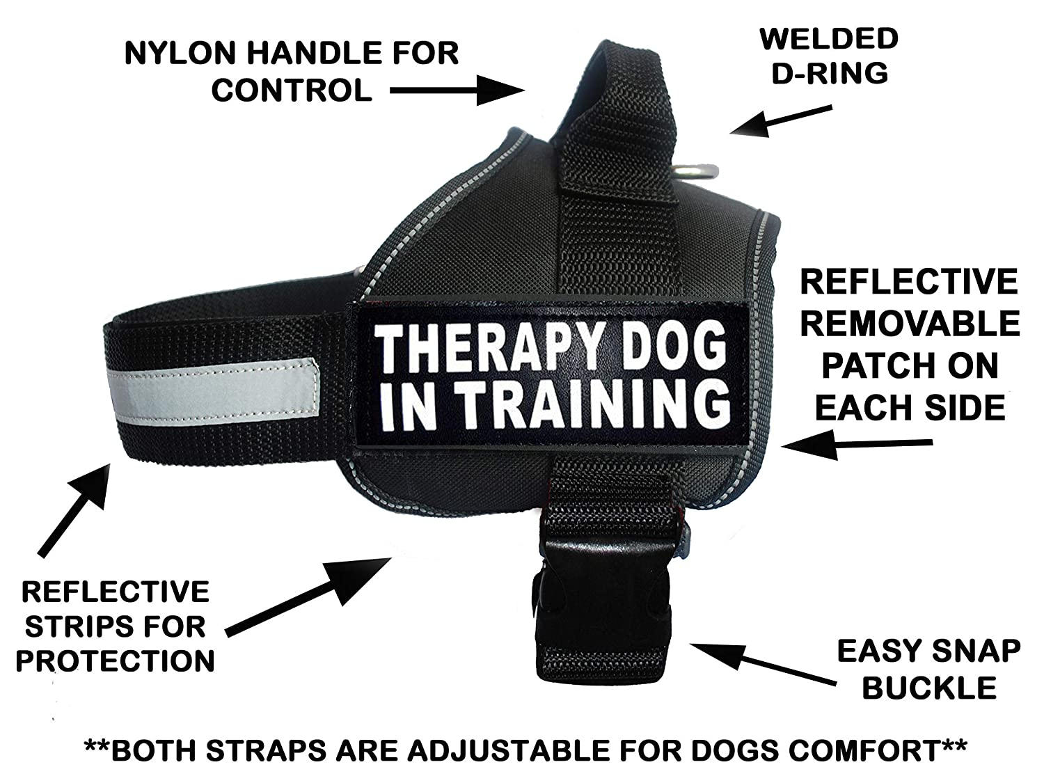 Black Girth 30-42\ Black Girth 30-42\ Therapy Dog in Training Nylon Dog Vest Harness. Purchase Comes with 2 Reflective Therapy Dog in Training pathces. Please Measure Your Dog Before Ordering (Girth 30-42 , Black)