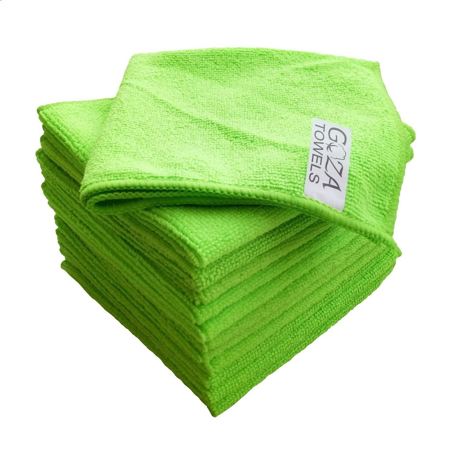Goza Towels Microfiber Towel Cleaning Cloths Professional Grade All-Purpose 16''x16'' (12 Pack, Green)