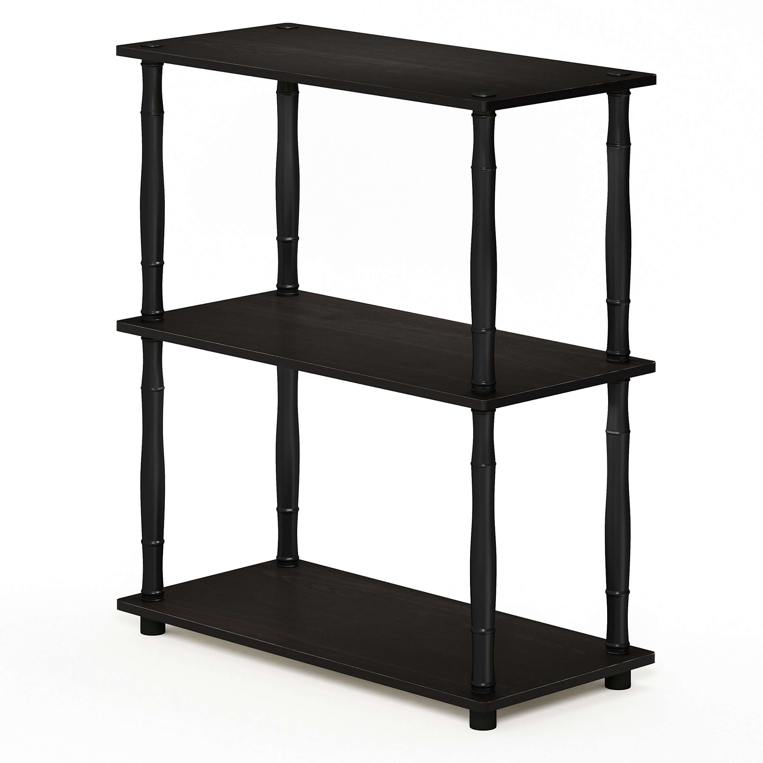 Furinno 18029EX/BK Turn-N-Tube Compact Shelving Rack, 3-Tier, Espresso/Black Classic Tube