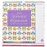 Arpan 2019 Family Organiser Calendar Pen, Shopping List dates to remeber, Things to do (Owls - 2019)