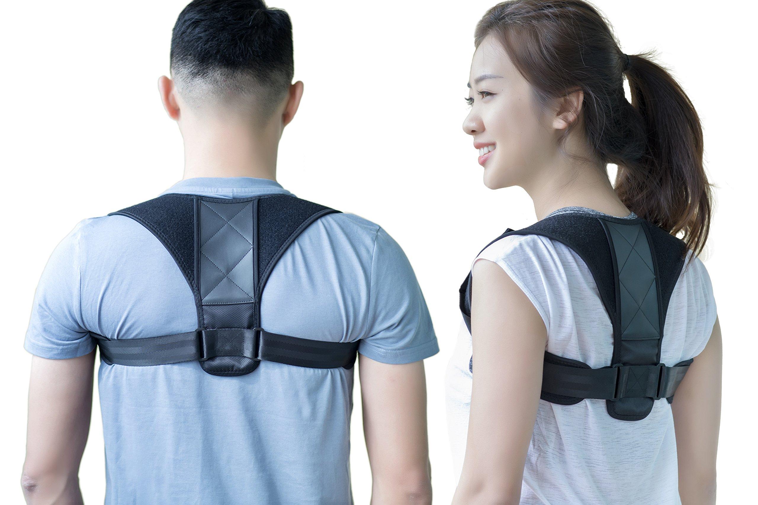 Back Brace Posture Corrector   Posture Support for Chest, Upper Back & Shoulder – Improve Posture & Neck Pain Relief   Comfortable & Breathable Neoprene by Manrover (REG (28''-43'' Chest))