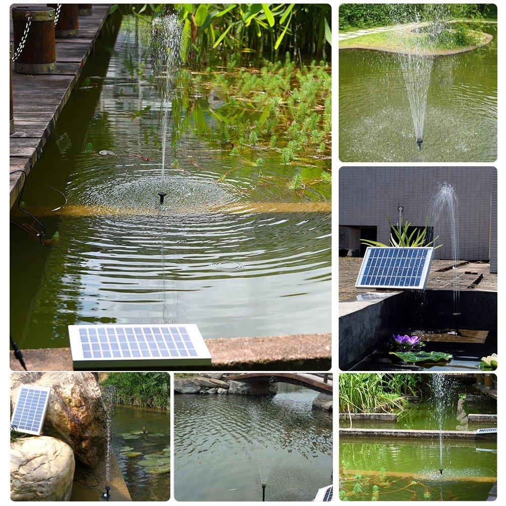 5W Fontaine Solaire Jardin Pompe /à Eau Solaire Ext/érieur avec D/ébit Maximum 380L//H et Jet deau 60CM pour la D/écoration de Baignoire Doiseaux Bassin,Piscine Etang