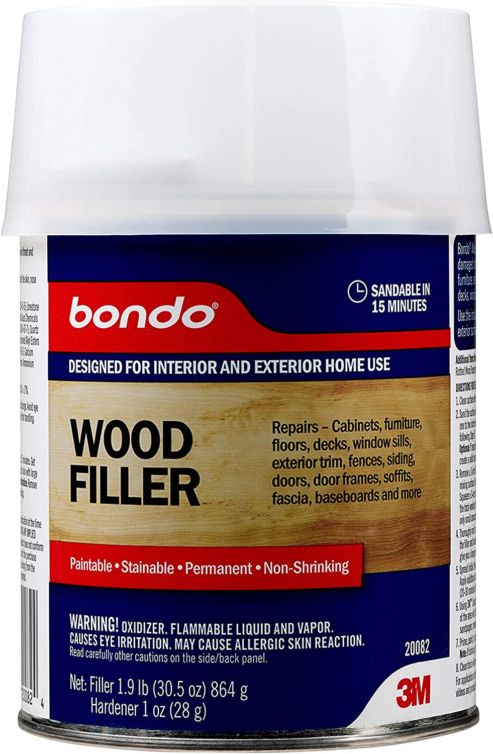Bondo Wood Filler, Repairs - Sandable in 15 min - For Cabinets, Furniture, Floors, Decks, Window Sills, Exterior Trim, Fences, Siding, Doors, Baseboards and More, 1.9 lbs. with 1 oz Hardener