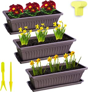 "Window Box Planter 3 Pack 15.7"" Plastic Rectangular Planters with 20 Plant Labels,Trays and 2 Graden Tools Vegetables Growing Container Garden Flower Plant Pot for Balcony Windowsill Patio Garden"