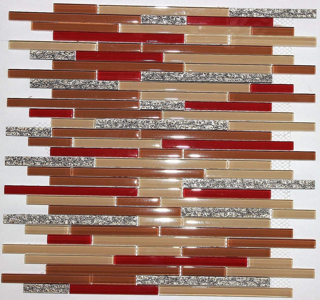 '' Dynasty'' Tan Glass Red Glass and Stone Gold Vine Mosaic Tile