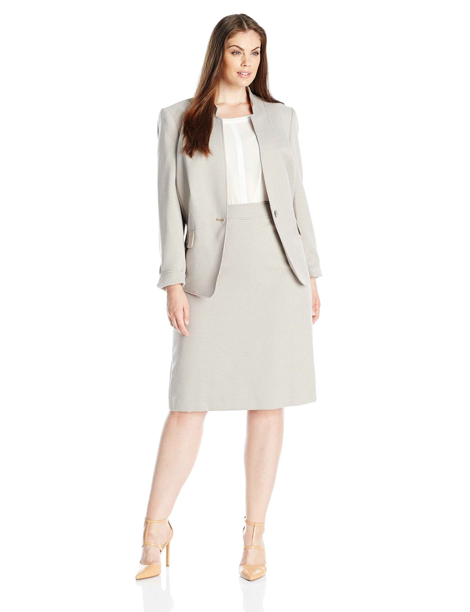 Tahari by Arthur S. Levine Women's Plus-Size Tahari Asl Houndstooth Skirt Suit, Beige/White, 22W by Tahari by Arthur S. Levine