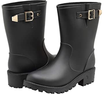 41a054c74af2 EYUSHIJIA Women s Short Rain Boots Waterproof Slip On Ankle Chelsea Booties