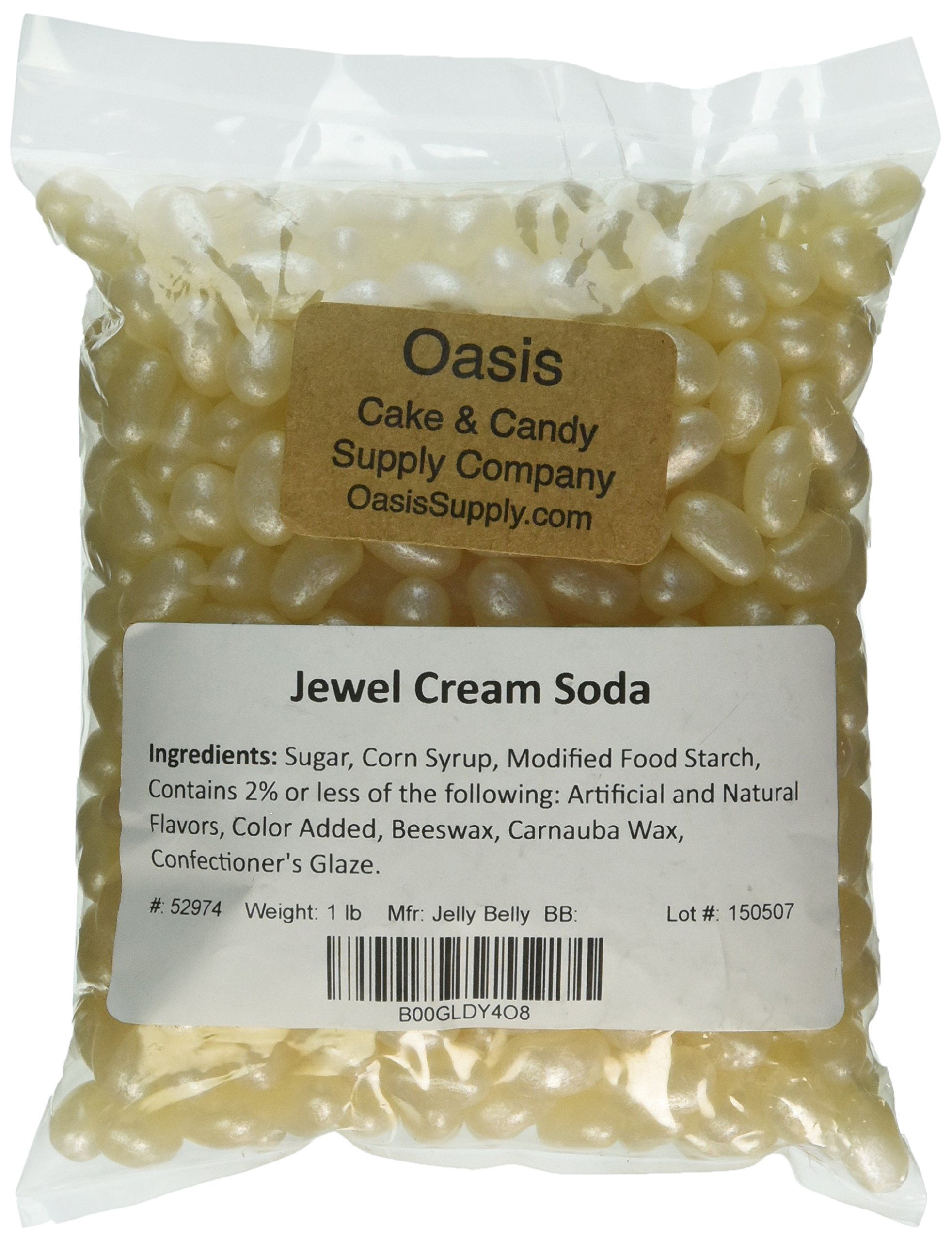 Jelly Belly Shimmer Pearlescent Jewel Beans, Off White Cream Soda, 1 Pound