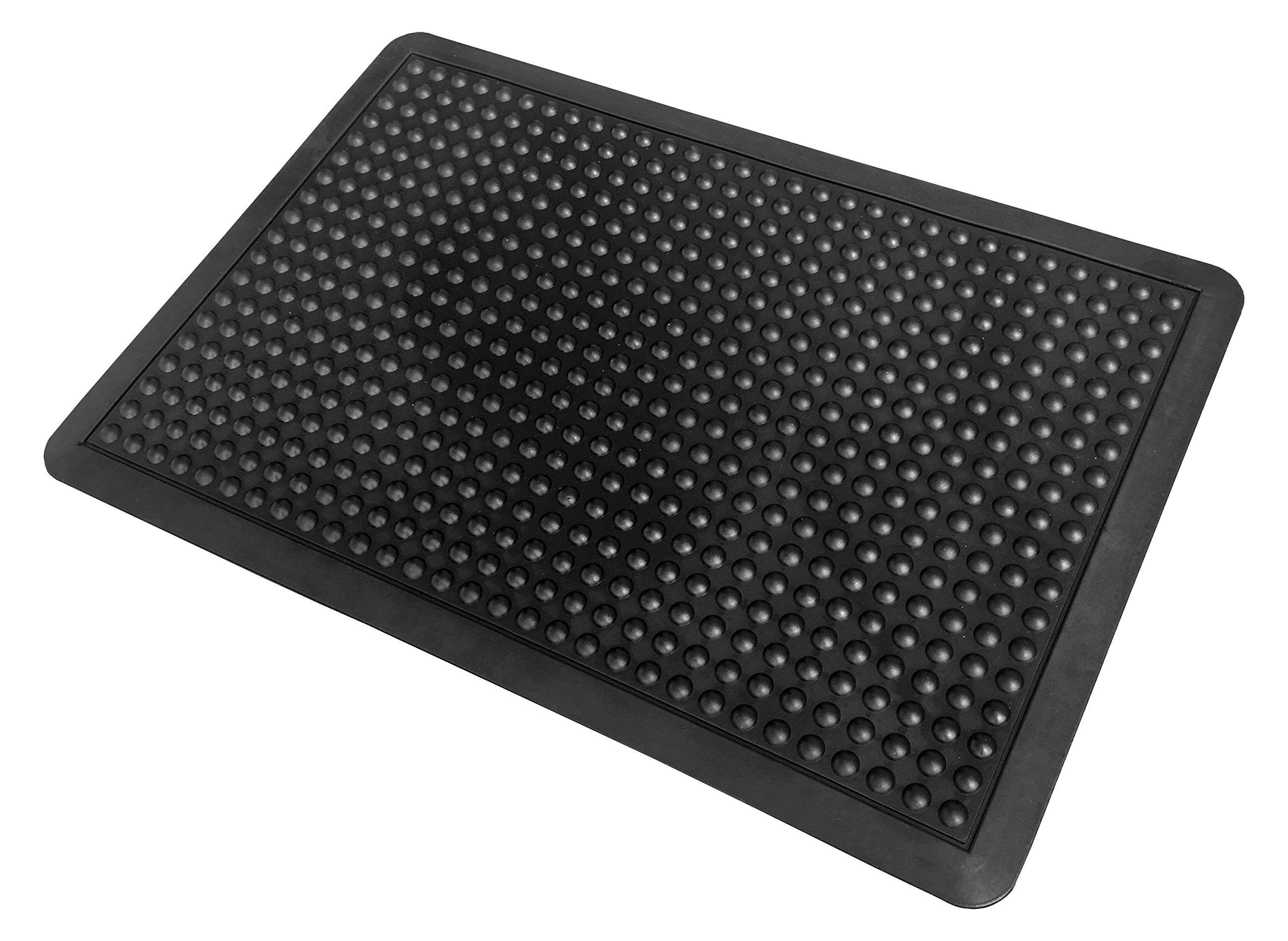 Bubble Mat 1/2'' Rubber Anti-Fatigue Matting, 3' x 4', Solid Black