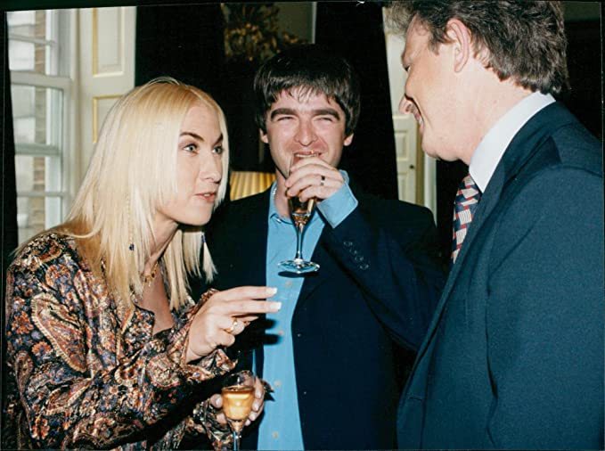 Vintage Photo Of Oasis Songwriter Noel Gallagher And His New Wife Meg Talk To The Prime