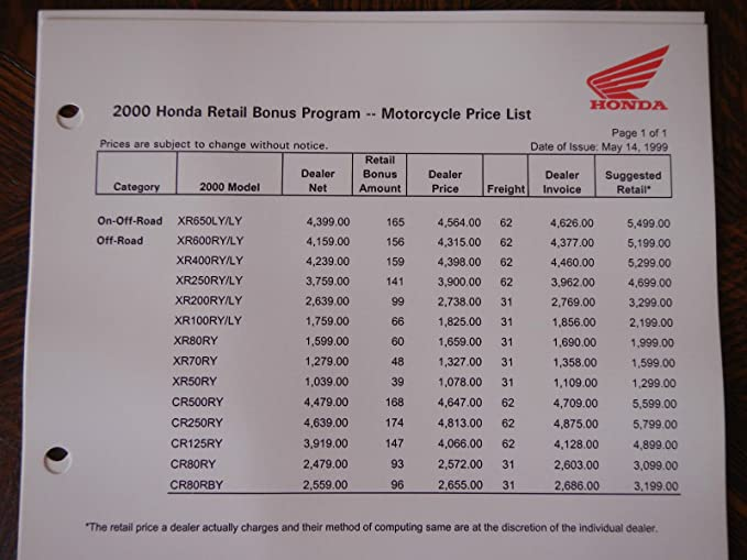 amazoncom honda confidential motorcycle information nos oem dealers sales booklet automotive