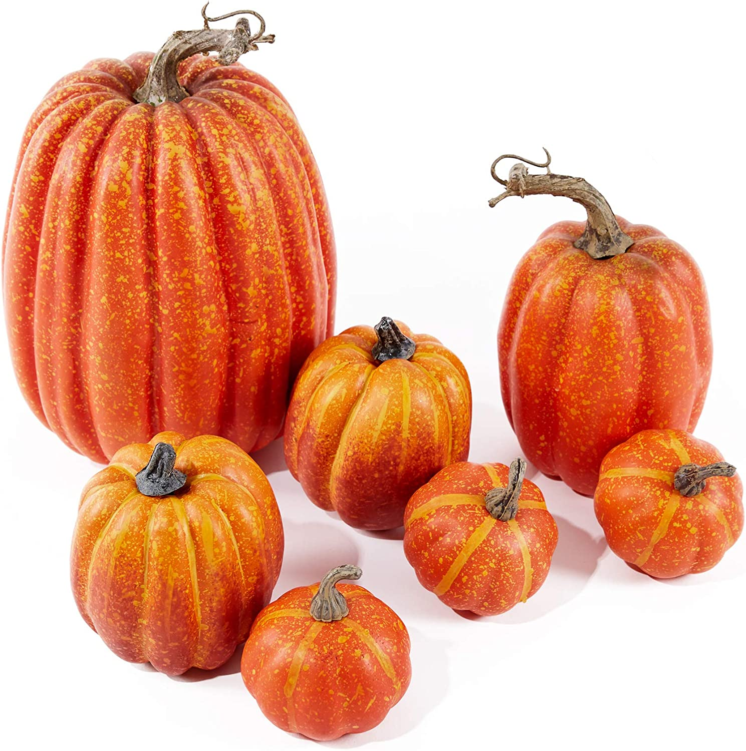 Lanpn Assorted Sizes Rustic Harvest Fake Artificial Pumpkins Decoration for Halloween Fall Thanksgiving Harvest Decor Decorating Decorations (7pcs)