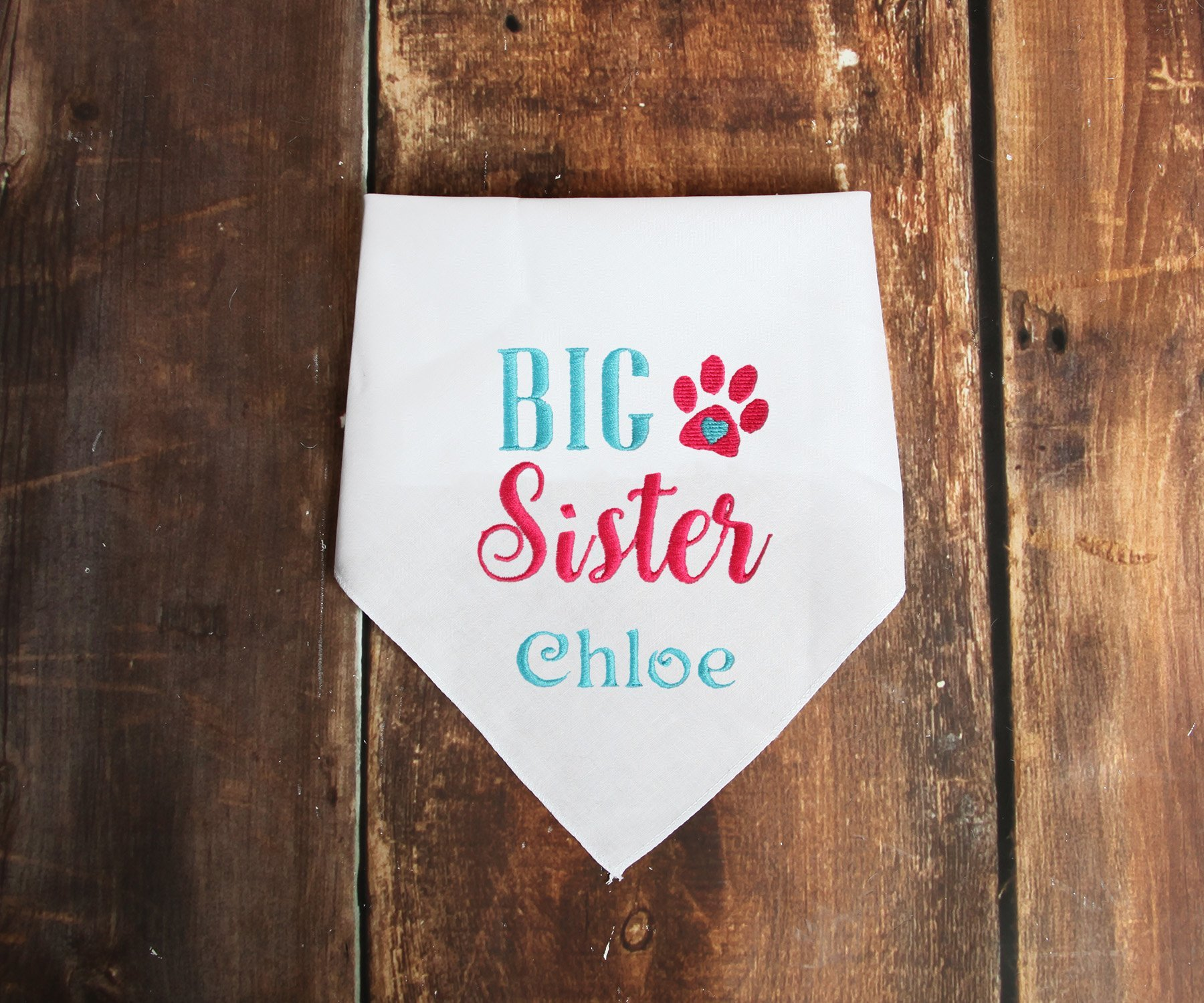 Personalized Big Sister Dog Bandana, Pregnancy Announcement Pet by Whiskers World