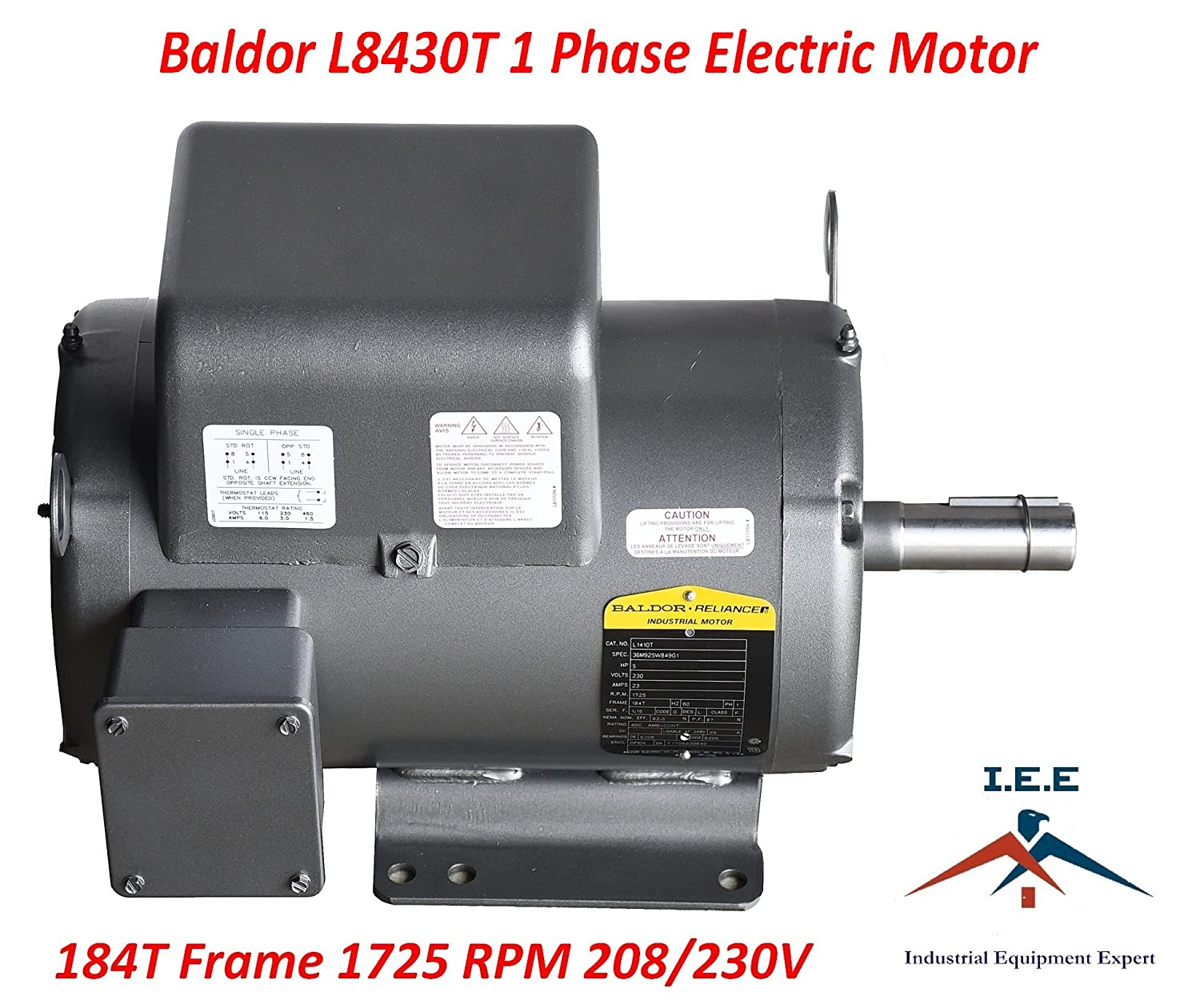 5 Hp 1 Phase Industrial Baldor Electric Motor 184t Wire Or Four Single 240 Volt 60 Hz A 208 Frame L8430t 230 Home Improvement