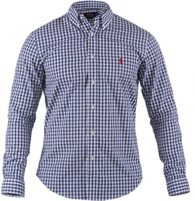Polo Ralph Lauren | Hombre Camisa Cuadros | Slim Fit | Camisa de manga larga | Varios. Colores | S – XXL, color: azul y blanco de cuadros; tamaño: S: Amazon.es: Ropa y accesorios