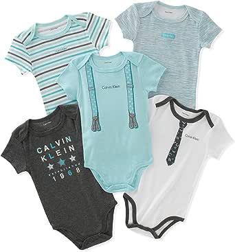 Calvin Klein Baby Boys' Assorted Short Sleeve Bodysuit (Pack of 5)
