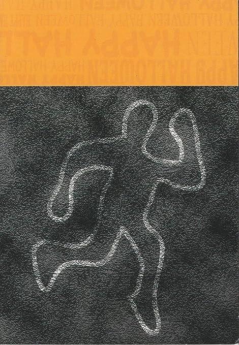 Crime Scene Dead Body Chalk Outline Halloween Greeting Card