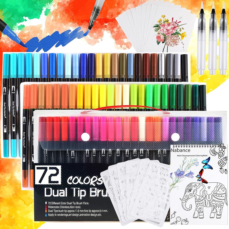 Nabance Rotuladores Acuarelables, 72 Colores Sets de Pinceles de Acuarela para Niños y Adulto, con 3 Pincel de Agua, 6 Plantillas, 10 Hojas de Papel de Dibujo, 1 Libro para Colorear, Manga y Dibujos