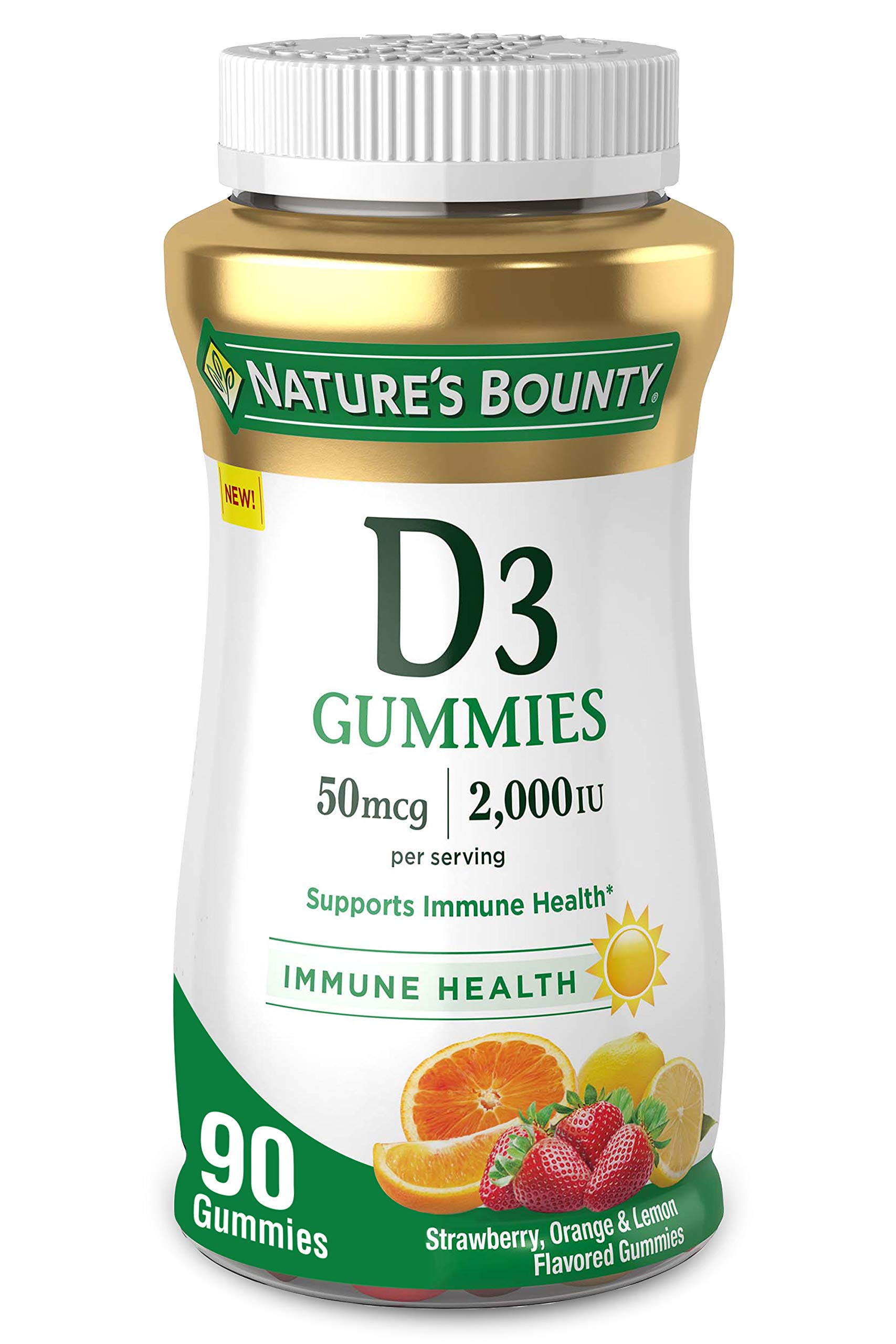 Vitamin D3 Gummies by Nature's Bounty, Vitamin Supplement, Supports Immune Health, 50mcg, 2000IU, Mixed Fruit Flavor, 90 Gummies