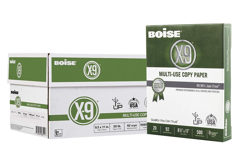 Boise(R) X-9(R) Paper, 8 1/2in. x 11in, 20 Lb, Bright White, 500 Sheets Per Ream, Case of 10 Reams, OX9001-CTN