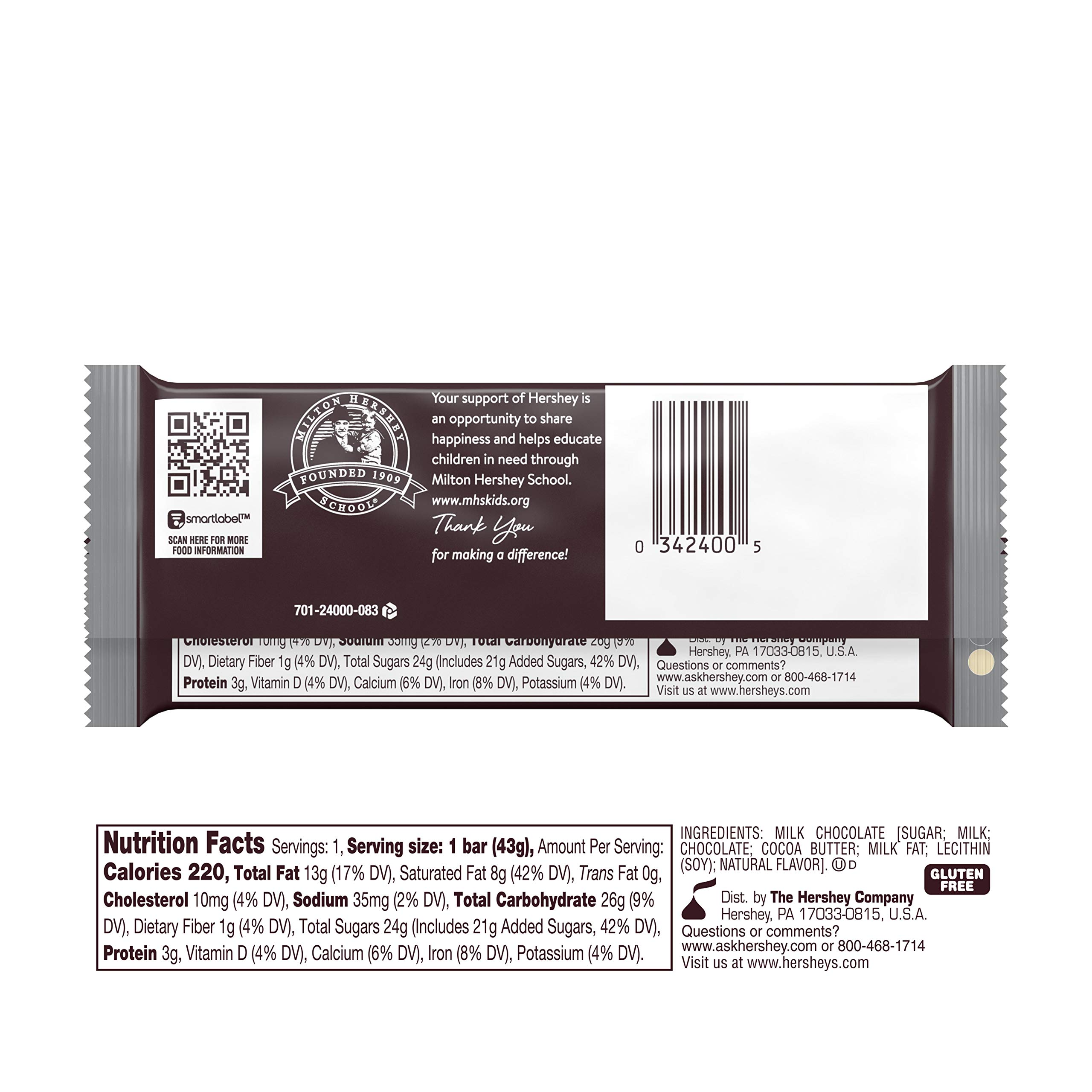 HERSHEY'S Milk Chocolate Candy Bars, 1.55-oz. Bars, 36 Count