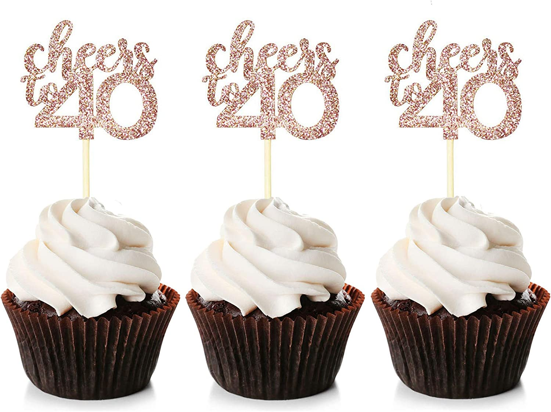 "Happy Birthday // 40th; Theme 23 Cupcake Topper; 15 x 2/"" circles . 50mm"