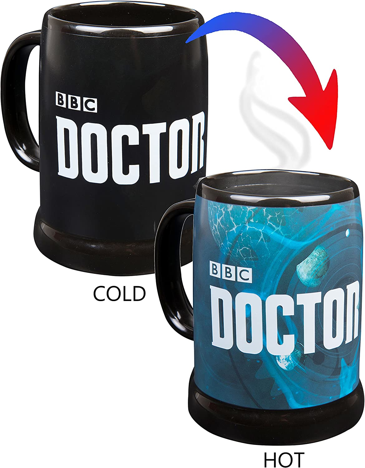 Doctor Who Heat Reveal Stein Coffee Mug - Dr. Who Logo Activates with Heat - 20 oz
