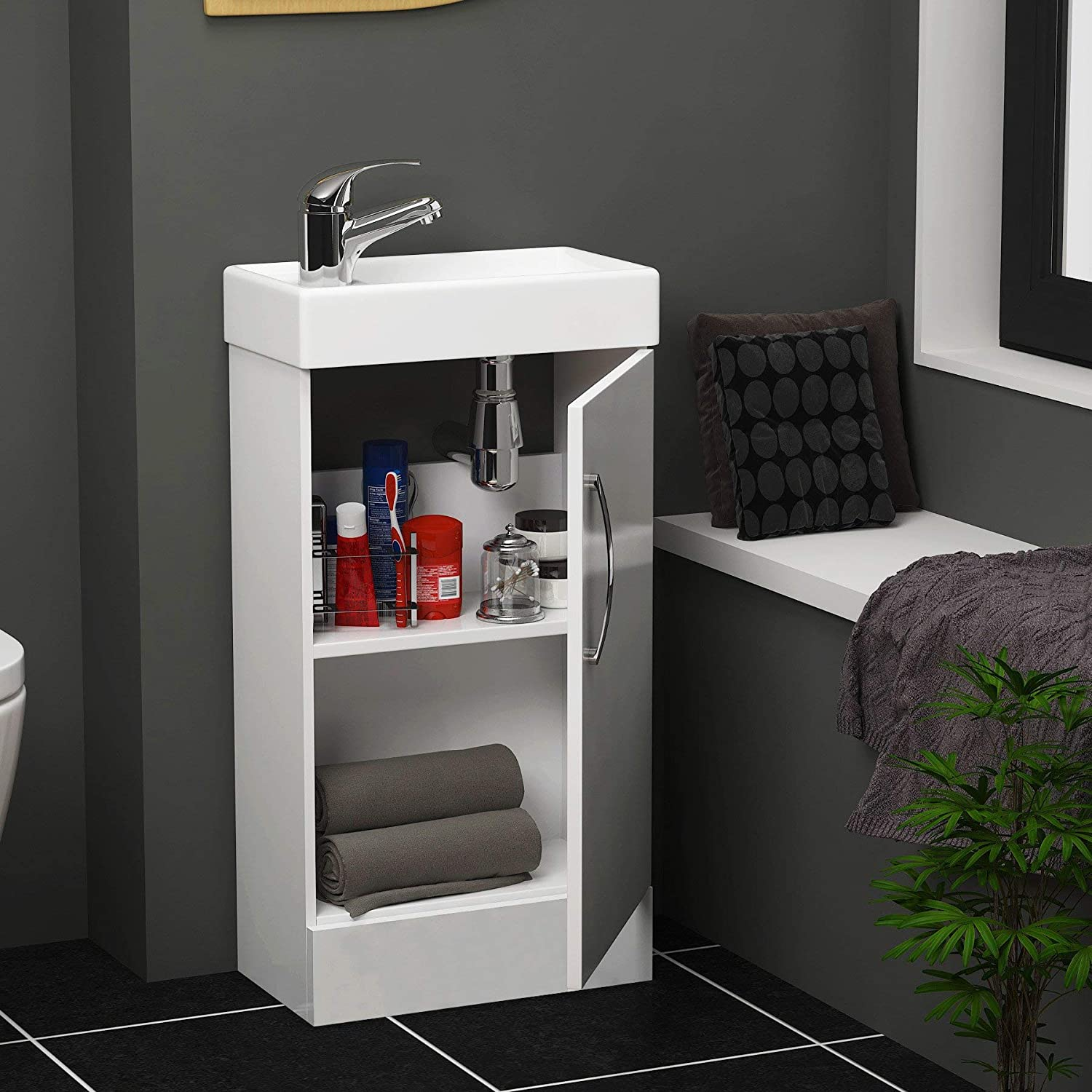 Modern Bathroom Vanity Unit 400mm 1-Door Wall Hung Storage Cabinet Basin Sink Gloss White Cloakroom Gloss White Floor Standing