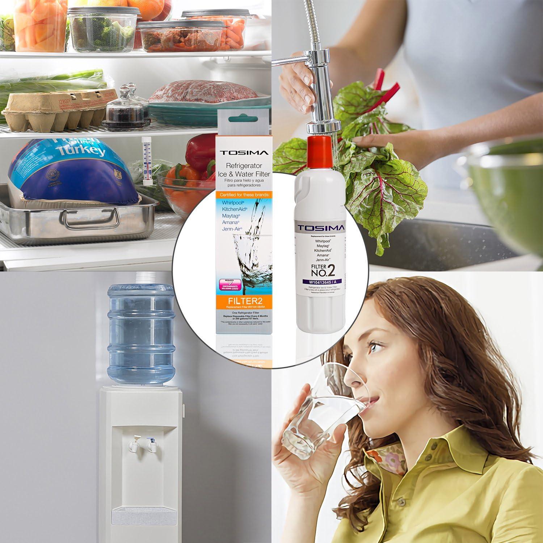 ToSima W10413645A - Filtro de agua para frigorífico (2 unidades, repuesto para Whirlpool EDR2RXD1, Maytag, KitchenAid, Amana, Jenn-Air filtro de agua para ...