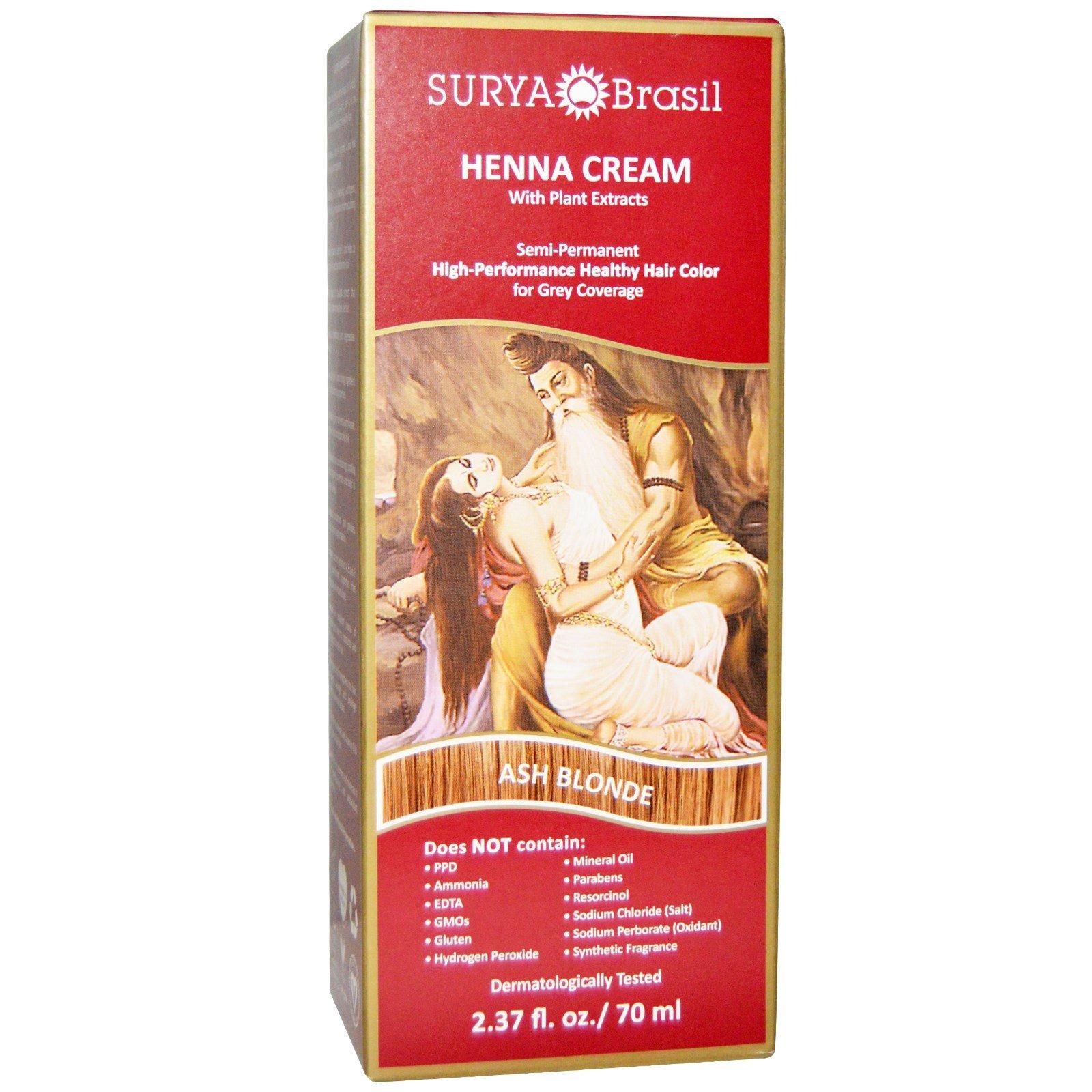 Surya Henna, Henna Cream, Hair Color and Conditioner, Ash Blonde, 2.37 fl oz (70 ml) - 3PC
