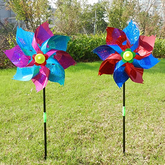 Amazon.com: Fansport 6PCS Kids Pinwheel Garden Pinwheel Glitter Windmill DIY Pinwheel Decor Wind Spinner for Outdoor Decor: Sports & Outdoors