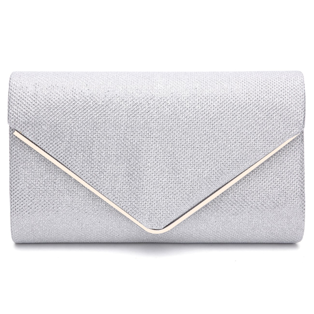 GESU Womens Shining Envelope Clutch Purses Evening Bag Handbags For Wedding and Party.(Silver-1)