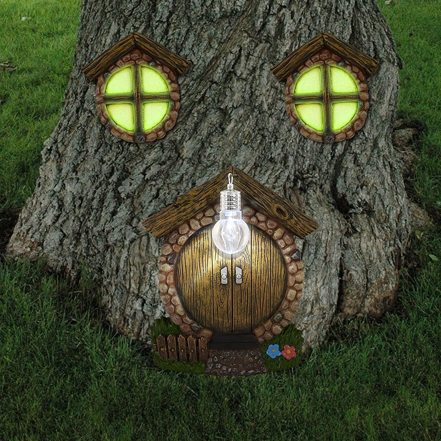 Hand-Mart Miniature Fairy Gnome Home Window and Door with Fairy Litter lamp for Tree Hugger Decoration, Glow in Dark Fairies Sleeping Noctilucence Decoration Yard Art Garden Sculpture Lawn Ornament