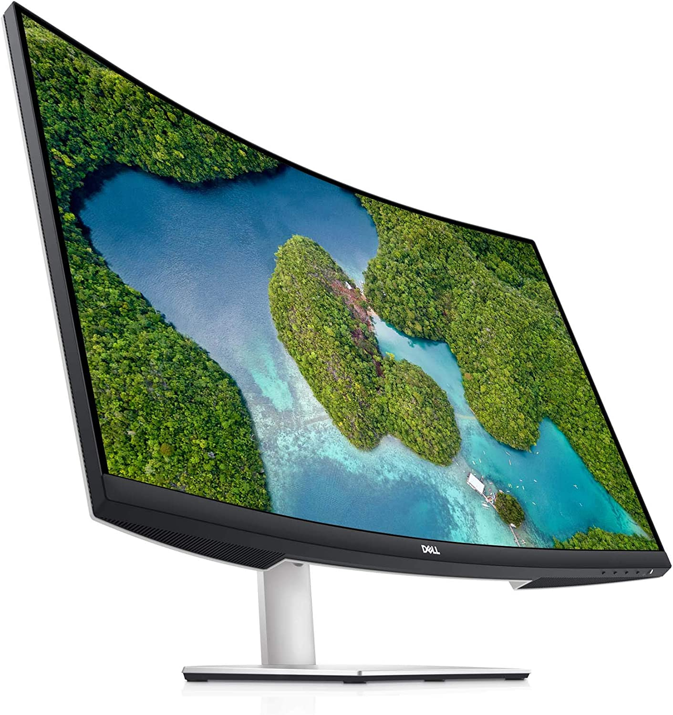 Dell S3221QS 32 Inch Curved 4K UHD, VA Ultra-Thin Bezel Monitor, AMD FreeSync, HDMI, DisplayPort, Built in Speakers, VESA Certified, Silver