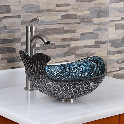 ELITE Pacific Whale Pattern Tempered Glass Bathroom Vessel Sink Brushed Nickel Faucet Combo